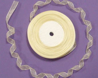 Organza Ribbon pale yellow clear 13 mm - sold per 5 meters