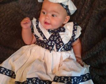 Hand made baby Nautical Sailor dress, hat and headband.