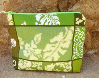Pouch fabric flowers and leaves recycled