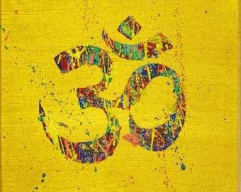 Original OM painting, Om sign, Om symbol, yoga meditation art, yoga studio decor, modern spiritual art, acrylic painting on canvas