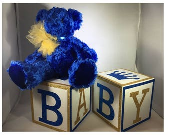 Royal Prince Baby Shower Decorations BABY Blocks , Glitter Border, Baby  Shower Decorations, Party