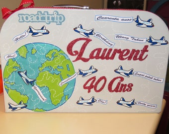 Birthday box, suitcase, globe theme trotter traveler, travel, around the world, grey, red, customizable colors,