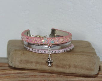 Bracelet for girl with dummy pacifier baby charm, pastel pink, silver, glitter, leather, suede studded, leather gift idea