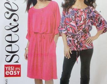 Butterick See & Sew Pattern B5700, Misses Dress, Misses Top, Size XS-XXL, OOP