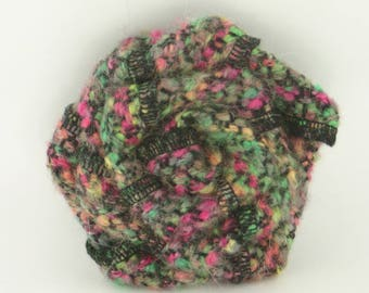 Large flower brooch made of wool mohair multicolor, model unique