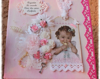 Pink shabby chic with vintage girl frame