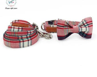Red, White & Black Fashion Plaid - Dog Collar Bow Tie and Matching Leash Set