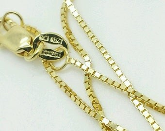 """10k Solid Yellow Gold Box Link Necklace Pendant Chain 16"""" - 30"""" .8mm"""