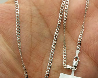 "14k Solid White Gold Cuban Curb Link Necklace Chain 16""-24"" 2.6mm"
