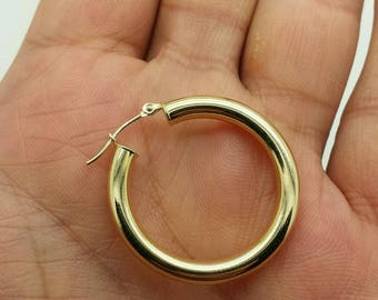 14k Yellow Gold High Polish Tube Hoop Earrings 4mm x 30mm