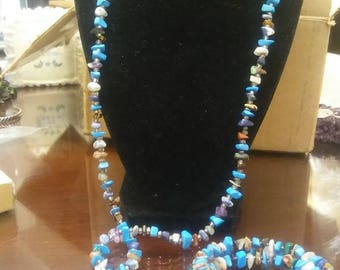Multi-Stone Chakra Clearing Necklace and Bracelet set