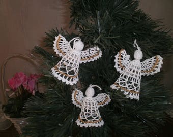 """""""Angel"""" crochet cotton white and gold figurines"""