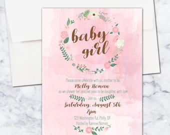 Baby Girl Baby Shower Invitation, Watercolor, Floral, 5x7, Digital Download