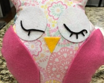 Homemade Stuffed Owl Toy- Pink