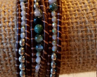 White silver and green semi- precious wrap bracelet