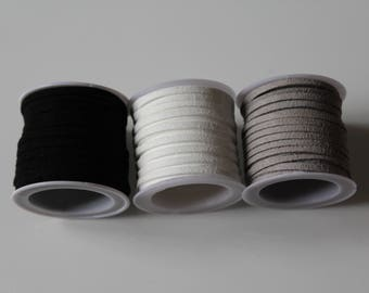 1 m cord Sweden / suede / black, white or grey 3 mm