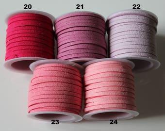 1 m cord Sweden / suede / Pink / Purple 3 mm