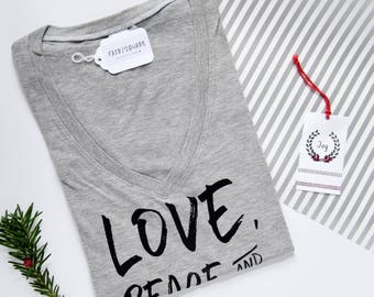 Love, Peace & Cashew Cheese | Women's Vegan T-Shirt in Grey | Vegan Shirt | Vegan Clothing | Vegan Tee | Plant-Based Shirts