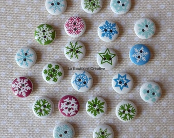 Buttons 10 wood motifs and white snowflakes 15mm round