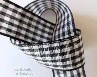 Ribbon gingham black & white 16mm