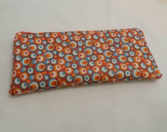 Zipper pouch psychedelic amid orange coated canvas