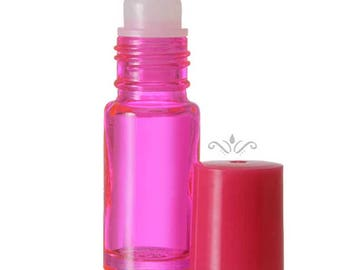 144 Pink Glass Roll On Bottles - 5 ML