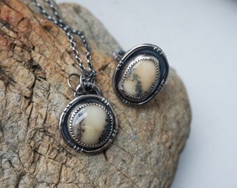 Dendritic Agate Necklace & Ring SET US size 7 in sterling silver