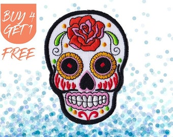 Sugar Skull Patch Halloween Patches Iron On Patch Embroidered Patch Skeleton Rose