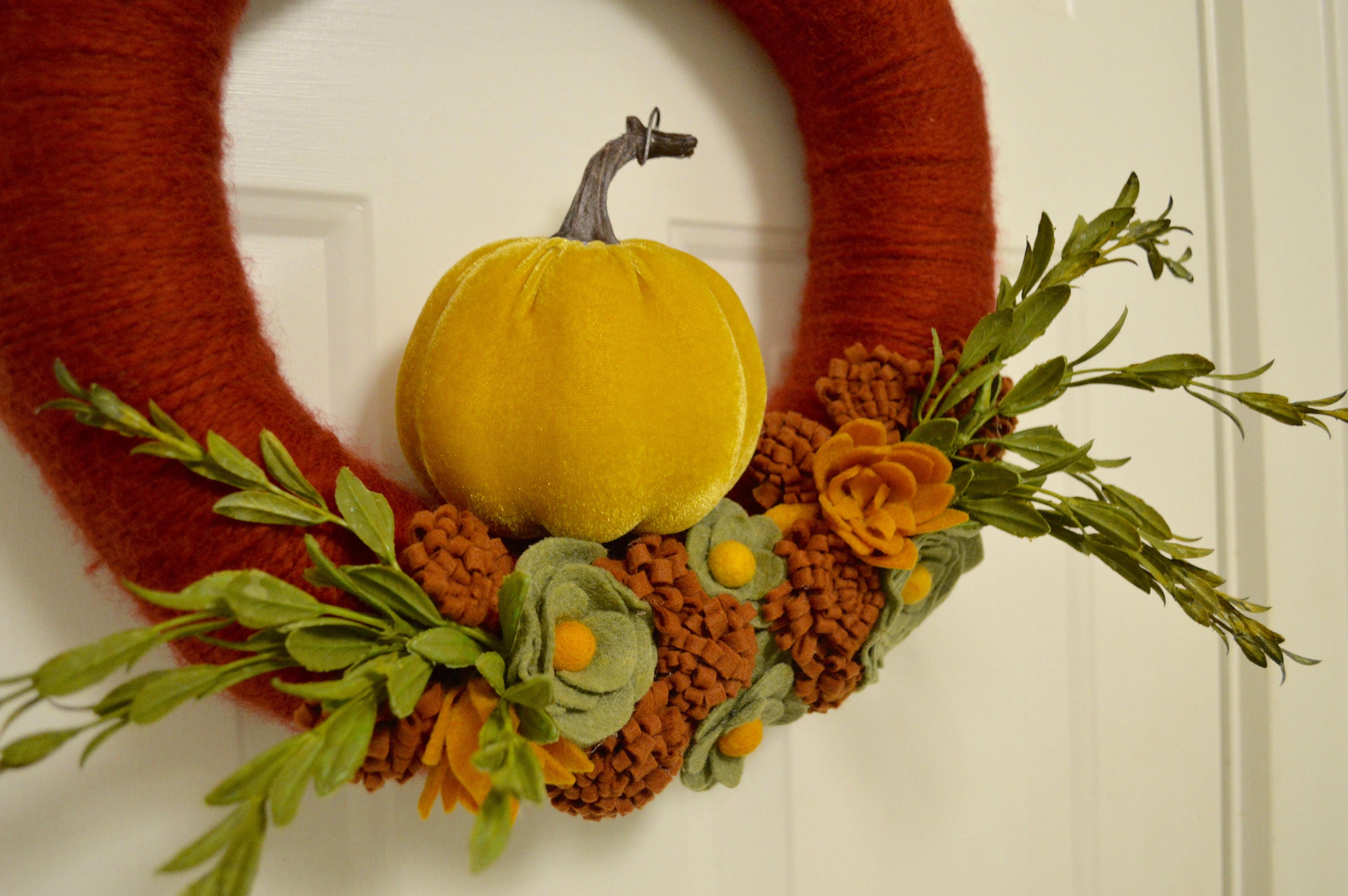 Velvet Pumpkin Thanksgiving Wreath / Fall Wreath / Autumn Wreath ...