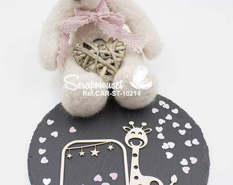 Embellishment frame little giraffe for Scrapbooking, Cardmaking and stars Home decor and creative.