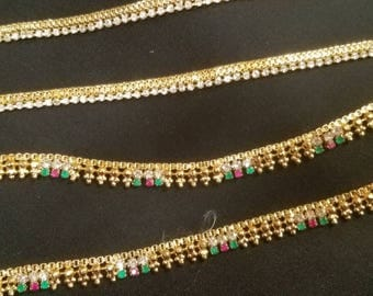 Beautiful cz gold-plated ruby emerald anklets