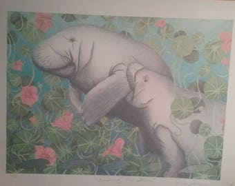 Vintage Vanishing Mauatees Print signed by Artist Rick Hills