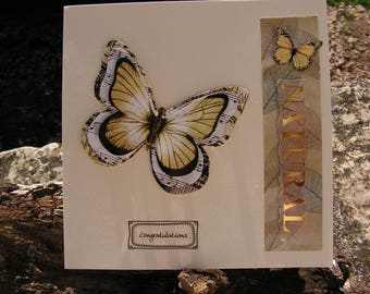 "Card ""Butterflies"", ivory and processed tones"