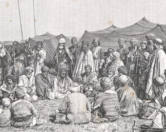 M. Martin in the Midst of his Workmen, Syria 1889 - Old Antique Vintage Engraving Art Print - Children, Gathering, Tent,  Horses, Spears