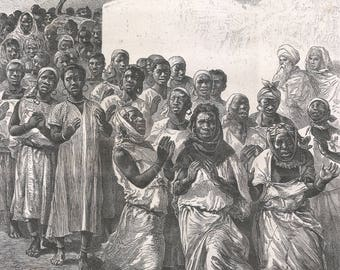Algeria , Festivals of Negroes, Old Antique Vintage Engraving Art Print, Men, Women, Procession, Crowd, Dancing, Clapping, Smiling, Robes