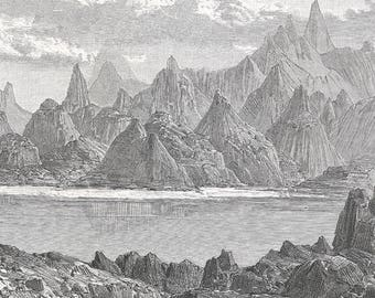 Djibouti 1889, Lake Assal, Old Antique Vintage Engraving Art Print, Mountain, Range, Cliff, Men, Animals, Travelers, Camels, Water, Lake