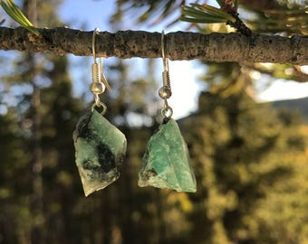 Natural Rough Emerald Drop Earrings