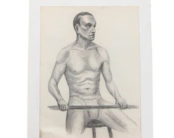 Vintage Male Figure Study Drawing by Janeczek