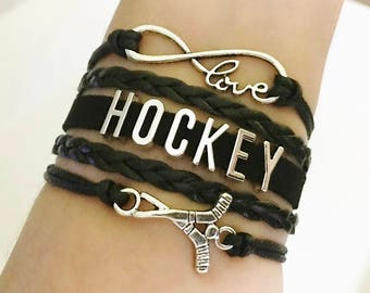 Hockey bracelet, Hockey Sticks gift, Hockey Coach jewelry, Hockey Mom Gift, Hockey Sports Team jewelry, Sports jewelry, Black colors