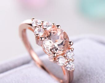 Peachy Morganite Engagement Ring Rose Gold 925 Sterling Silver CZ Cluster Wedding Ring Multistone Anniversary Gift Women Art Deco Promise