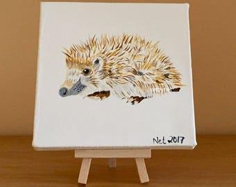 HEDGEHOG painting, hedgehog art, watercolour hedgehog, perfect gift, hedgehog lovers gift, 15cm x 15cm painting, wildlife lovers gift