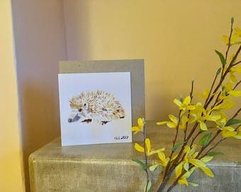 HEDGEHOG greetings card, Blank, Thankyou, Birthday, wildlife, nature lover, gifts for her, gifts for him, recycled card compostable wrapping