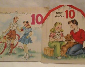 Vintage  10th birthday  greeting  cards
