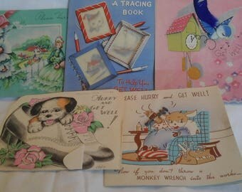 Vintage  get well soon greeting  cards