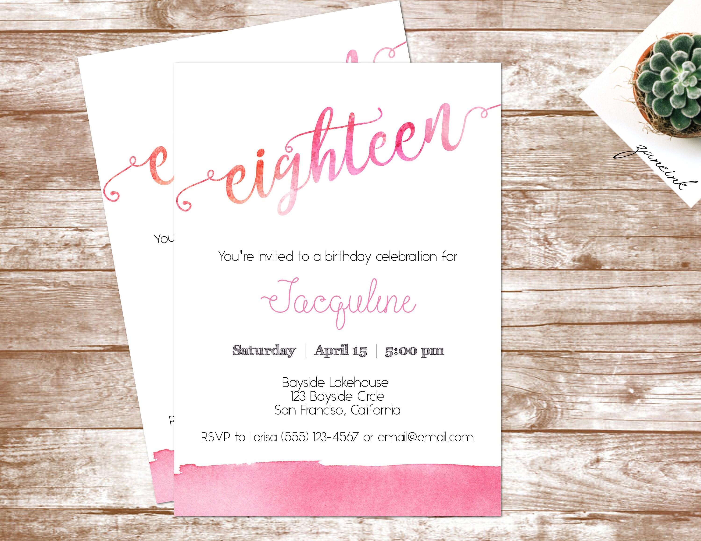 Pink Watercolor Birthday Invitation | 18th Birthday Invitation ...