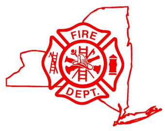 5.5 IN New York State Firefighter Maltese Cross - in Red, Pink, or White