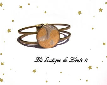 Bronze cabochon 25mm paint gray and gold bracelet