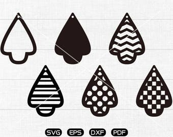 Tear drop with hole SVG, Mushroom svg, Teardrop earring svg, leather jewelry making Clipart, cricut, silhouette cut files commercial use