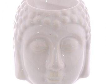 Oil burner ceramic white Buddha head