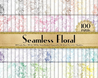 100 Seamless Floral Papers in 12 inch, 300 Dpi Planner Paper, Commercial Use, Scrapbook Paper,Rainbow Paper, 100 Floral Papers,Leaves Paper